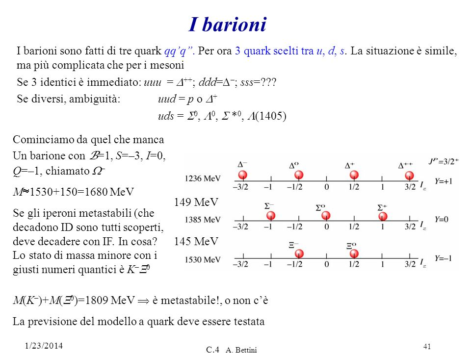 I barioni I barioni sono fatti di tre quark qq'q''. Per ora 3 quark scelti tra u, d, s. La situazione è simile, ma più complicata che per i mesoni.