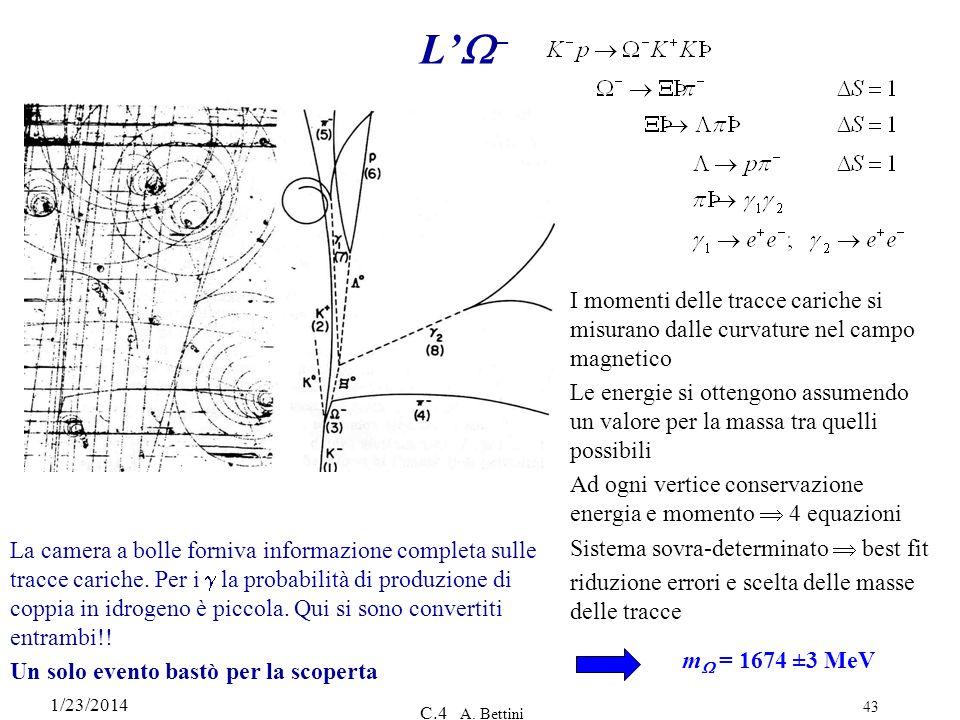L'W– I momenti delle tracce cariche si misurano dalle curvature nel campo magnetico.