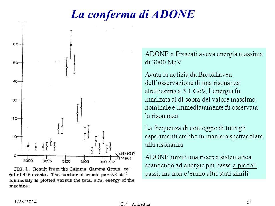 La conferma di ADONE ADONE a Frascati aveva energia massima di 3000 MeV.