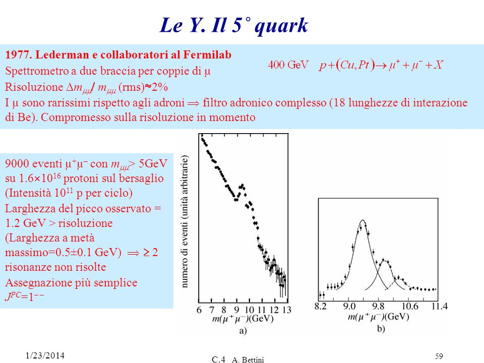 Le Y. Il 5˚ quark 1977. Lederman e collaboratori al Fermilab