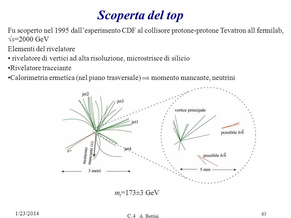 Scoperta del top Fu scoperto nel 1995 dall'esperimento CDF al collisore protone-protone Tevatron all fermilab, √s=2000 GeV.