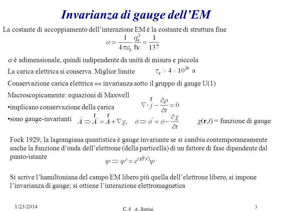 Invarianza di gauge dell'EM