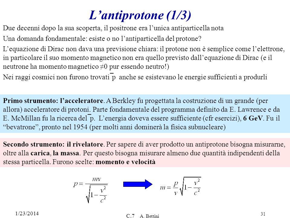 L'antiprotone (1/3) Due decenni dopo la sua scoperta, il positrone era l'unica antiparticella nota.