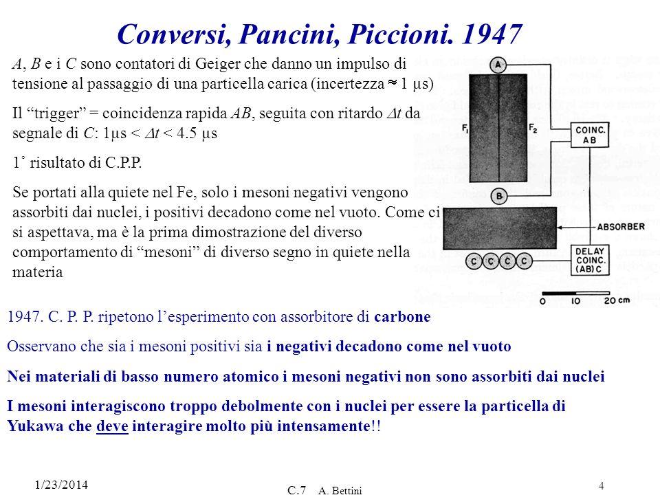 Conversi, Pancini, Piccioni. 1947