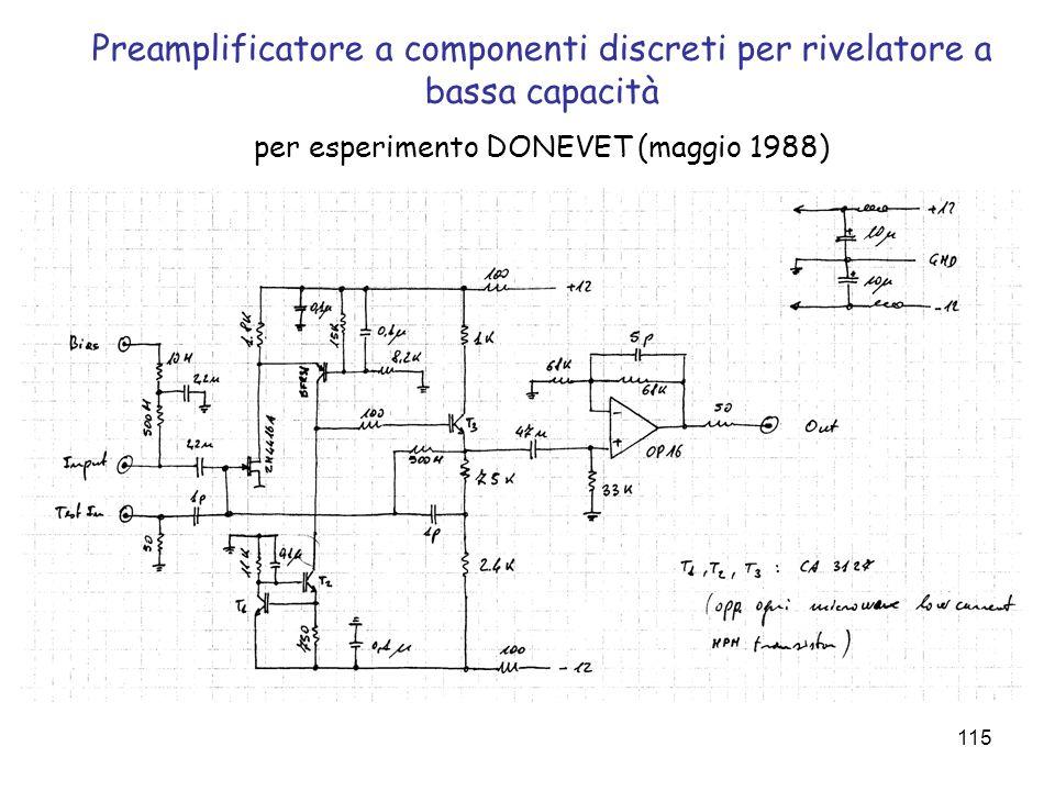 Preamplificatore a componenti discreti per rivelatore a bassa capacità