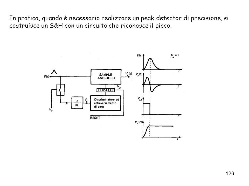 In pratica, quando è necessario realizzare un peak detector di precisione, si costruisce un S&H con un circuito che riconosce il picco.