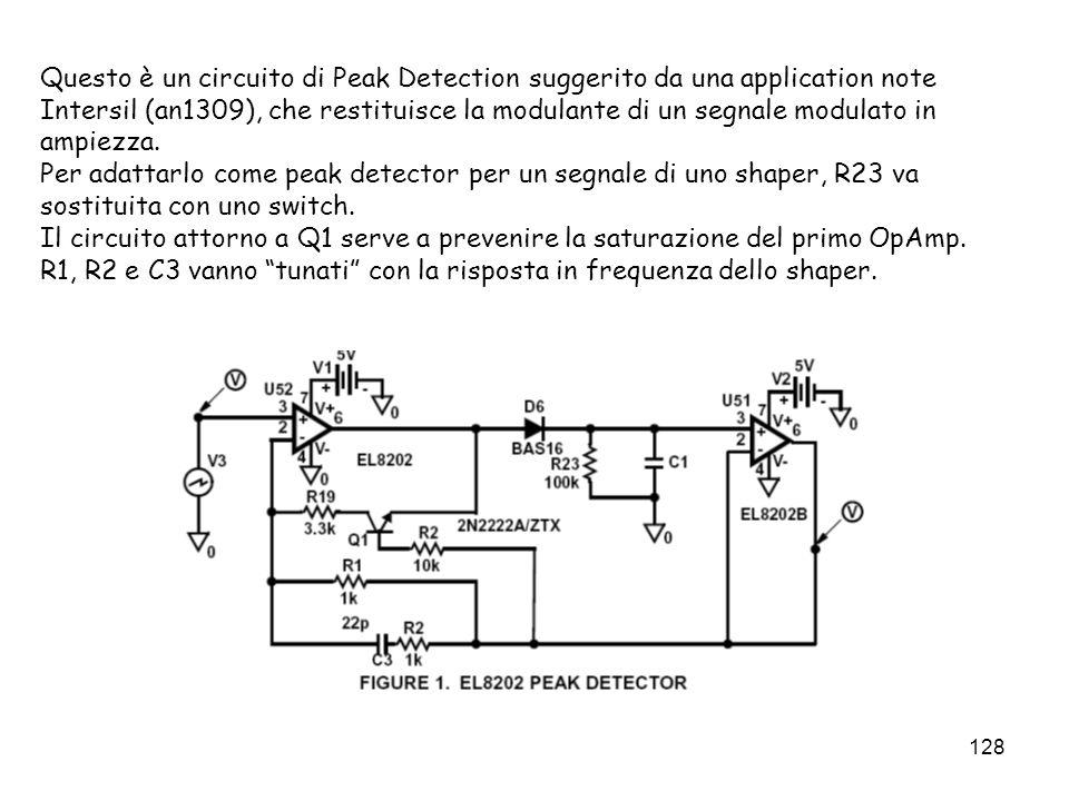 Questo è un circuito di Peak Detection suggerito da una application note Intersil (an1309), che restituisce la modulante di un segnale modulato in ampiezza.