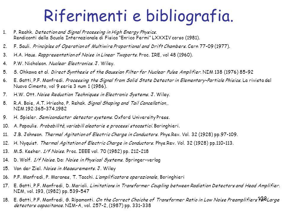 Riferimenti e bibliografia.