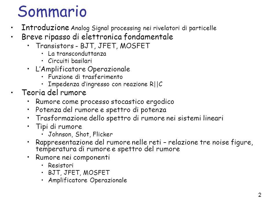 Sommario Introduzione Analog Signal processing nei rivelatori di particelle. Breve ripasso di elettronica fondamentale.