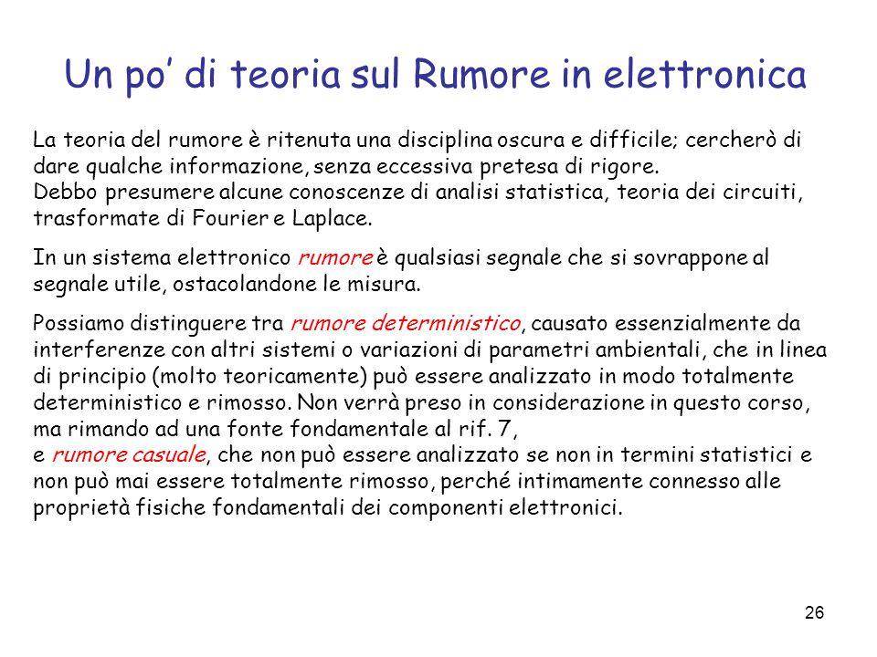 Un po' di teoria sul Rumore in elettronica