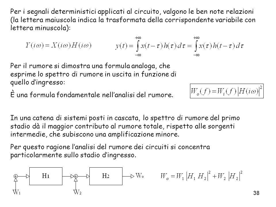 Per i segnali deterministici applicati al circuito, valgono le ben note relazioni (la lettera maiuscola indica la trasformata della corrispondente variabile con lettera minuscola):