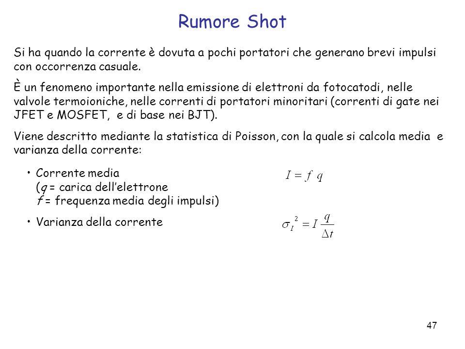 Rumore ShotSi ha quando la corrente è dovuta a pochi portatori che generano brevi impulsi con occorrenza casuale.
