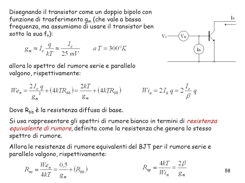 Disegnando il transistor come un doppio bipolo con funzione di trasferimento gm (che vale a bassa frequenza, ma assumiamo di usare il transistor ben sotto la sua ft):