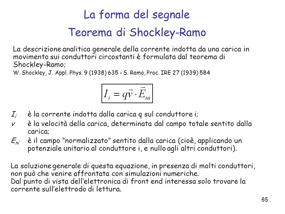 La forma del segnale Teorema di Shockley-Ramo