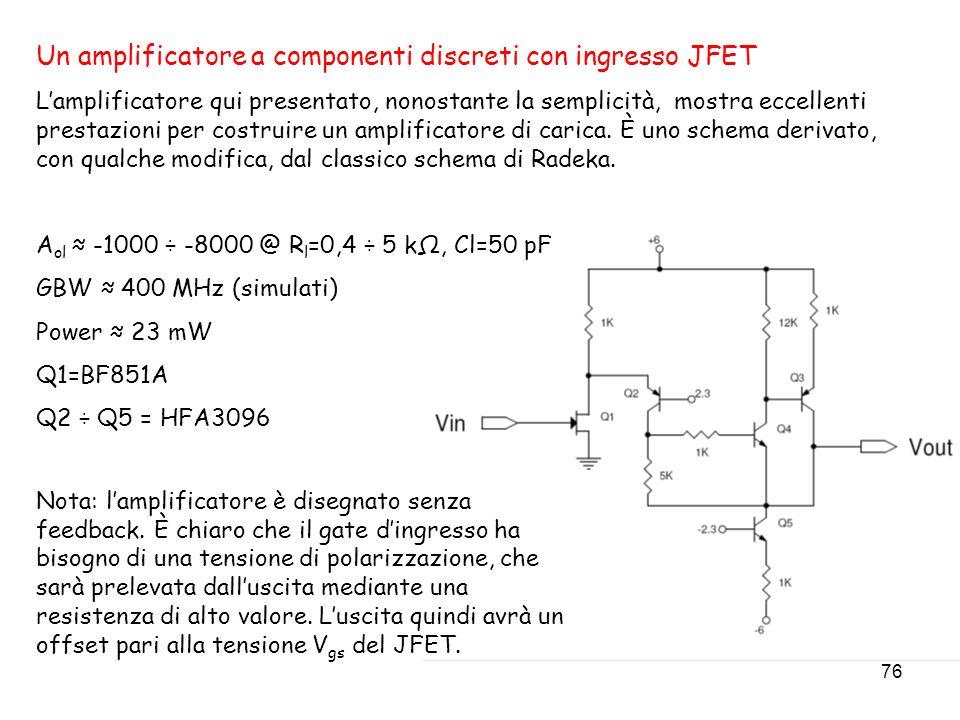 Un amplificatore a componenti discreti con ingresso JFET