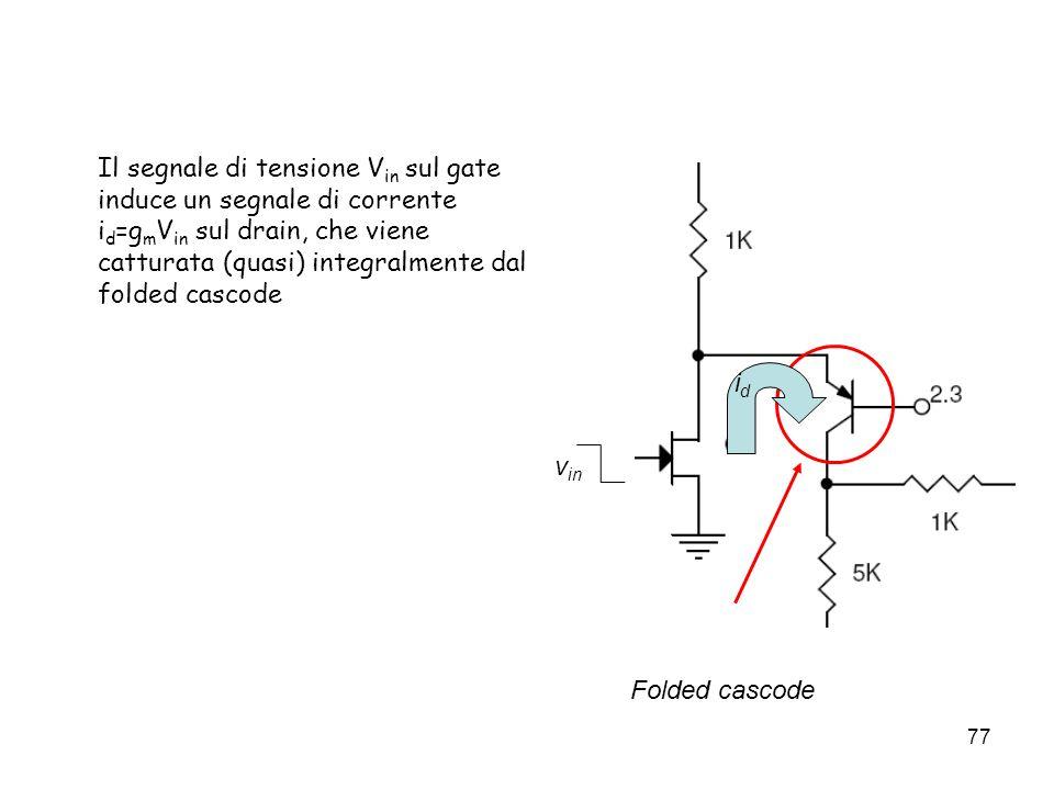 Il segnale di tensione Vin sul gate induce un segnale di corrente id=gmVin sul drain, che viene catturata (quasi) integralmente dal folded cascode