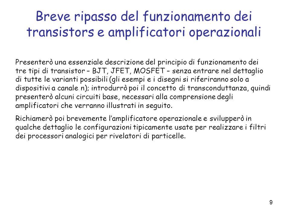 Breve ripasso del funzionamento dei transistors e amplificatori operazionali