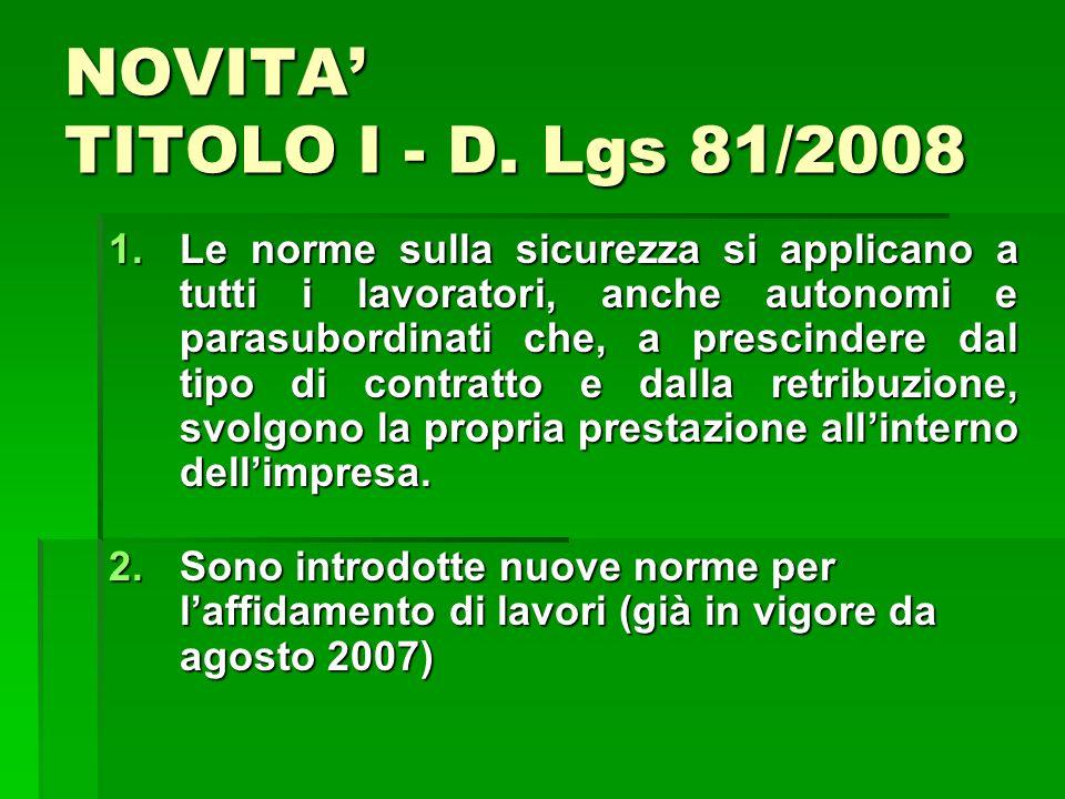 NOVITA' TITOLO I - D. Lgs 81/2008