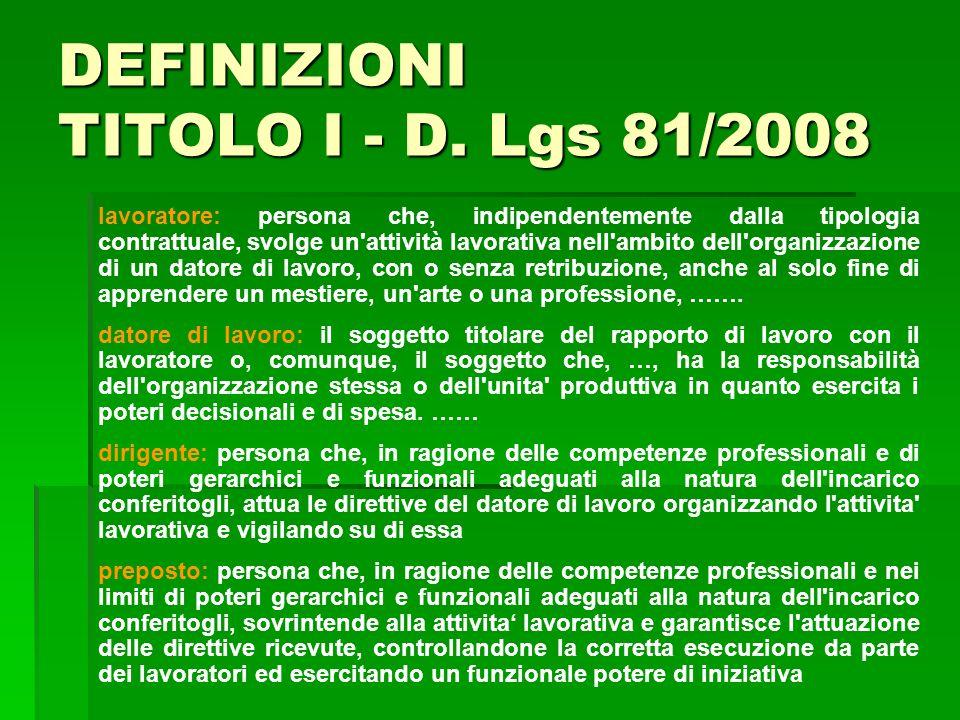 DEFINIZIONI TITOLO I - D. Lgs 81/2008