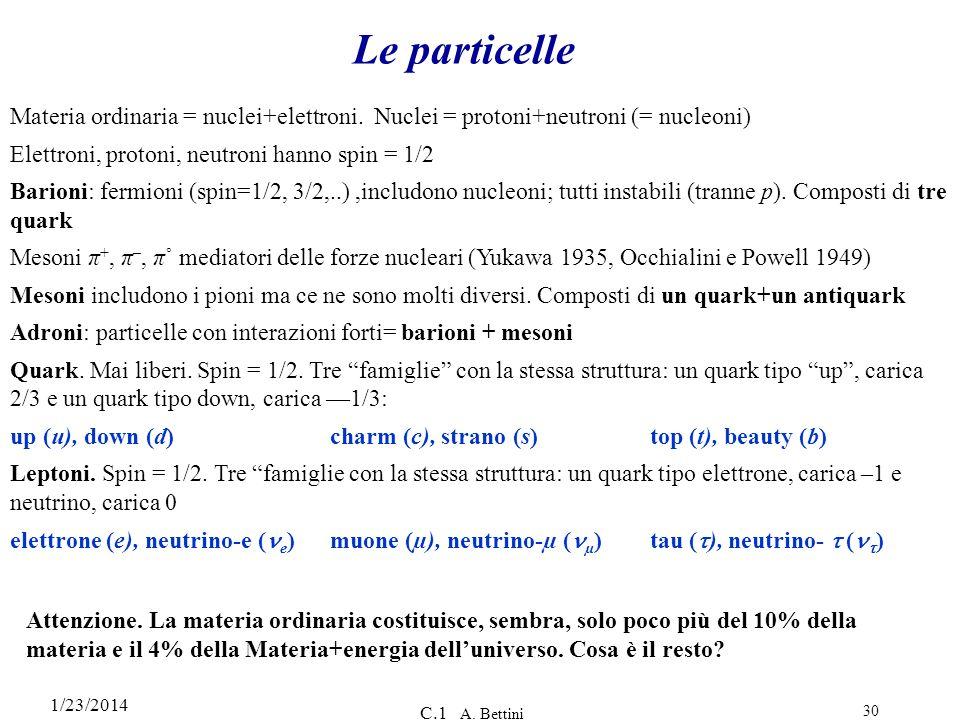 Le particelle Materia ordinaria = nuclei+elettroni. Nuclei = protoni+neutroni (= nucleoni) Elettroni, protoni, neutroni hanno spin = 1/2.