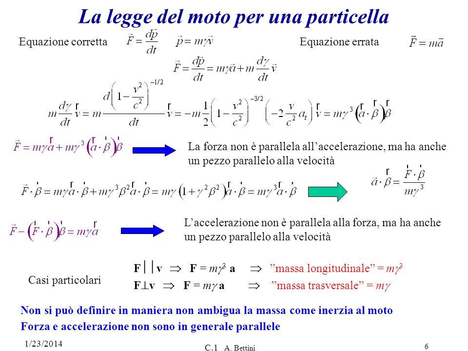 La legge del moto per una particella
