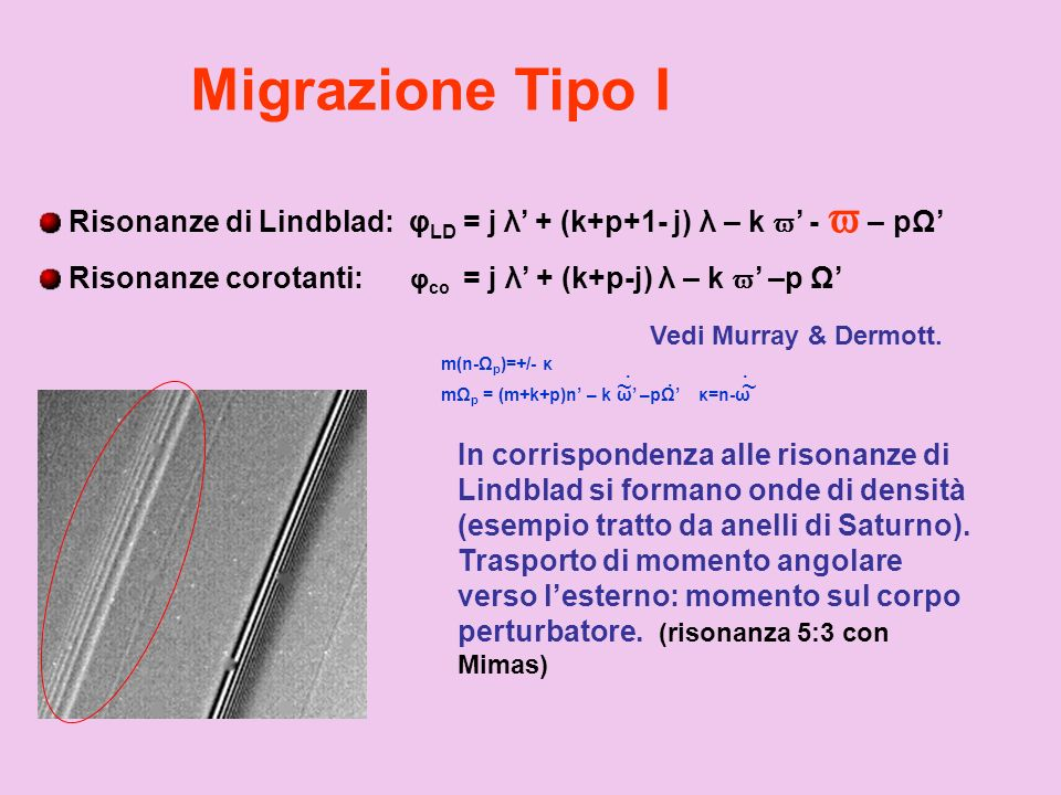 Migrazione Tipo I Risonanze di Lindblad: φLD = j λ' + (k+p+1- j) λ – k ' -  – pΩ' Risonanze corotanti: φco = j λ' + (k+p-j) λ – k ' –p Ω'