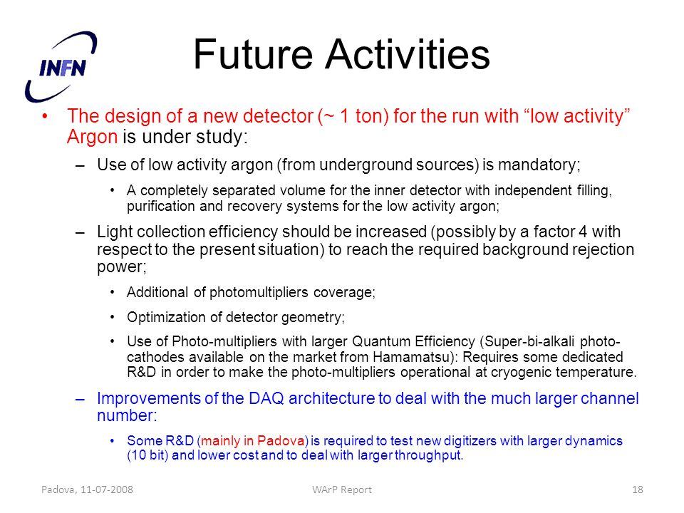Future Activities The design of a new detector (~ 1 ton) for the run with low activity Argon is under study: