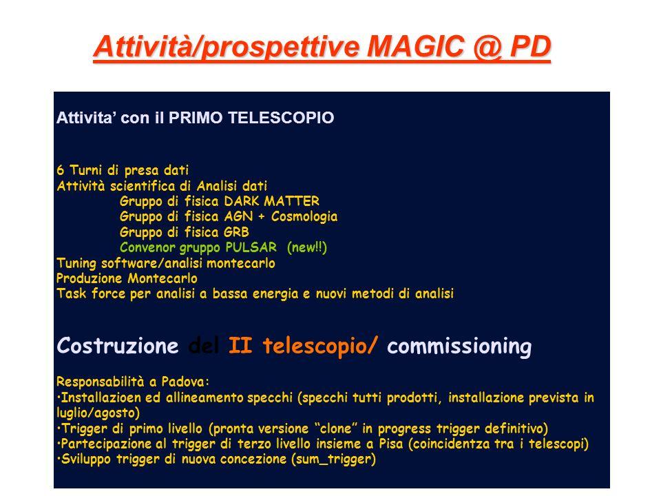 Attività/prospettive MAGIC @ PD