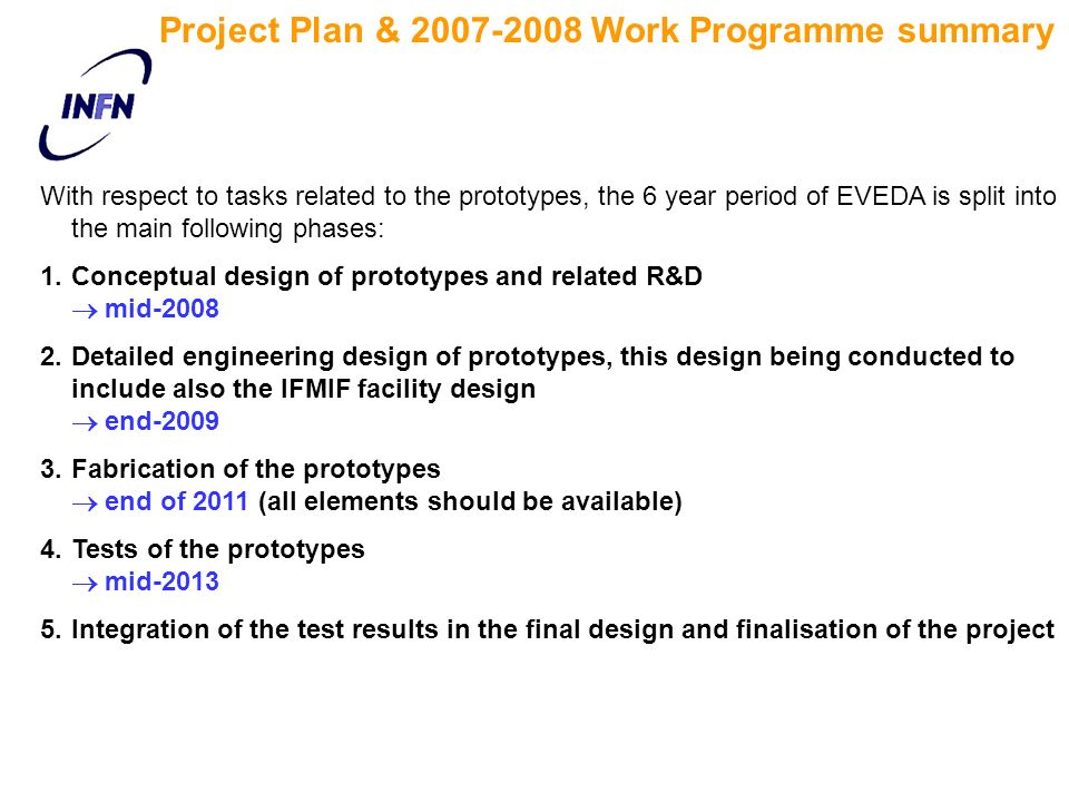 Project Plan & 2007-2008 Work Programme summary