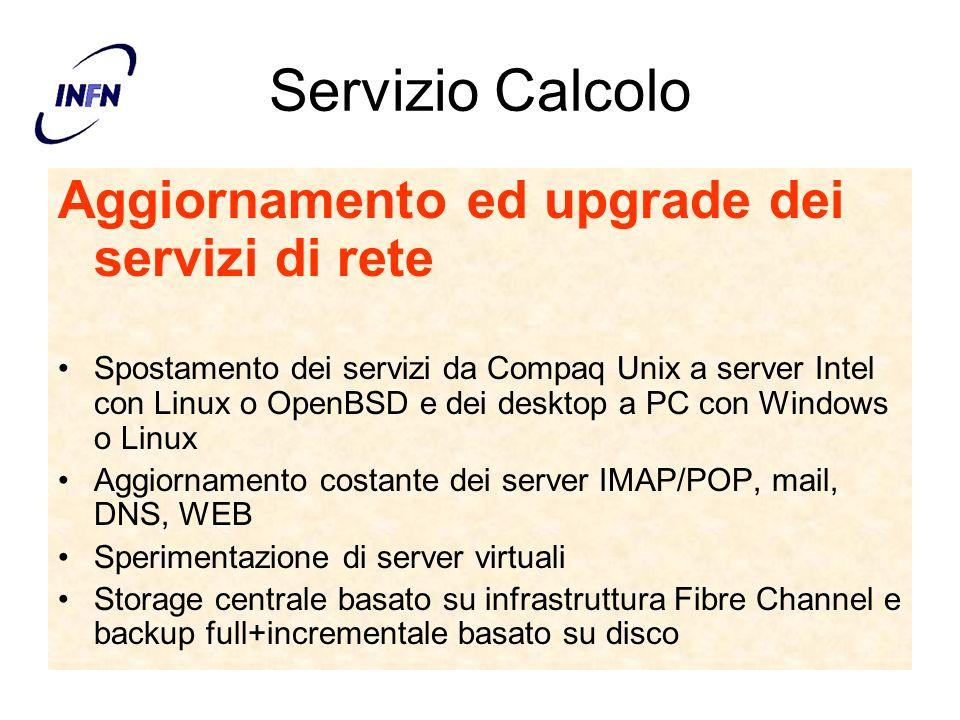 Servizio Calcolo Aggiornamento ed upgrade dei servizi di rete