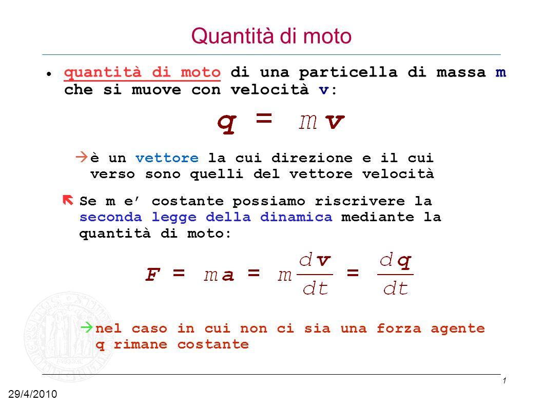 Quantità di moto quantità di moto di una particella di massa m che si muove con velocità v: