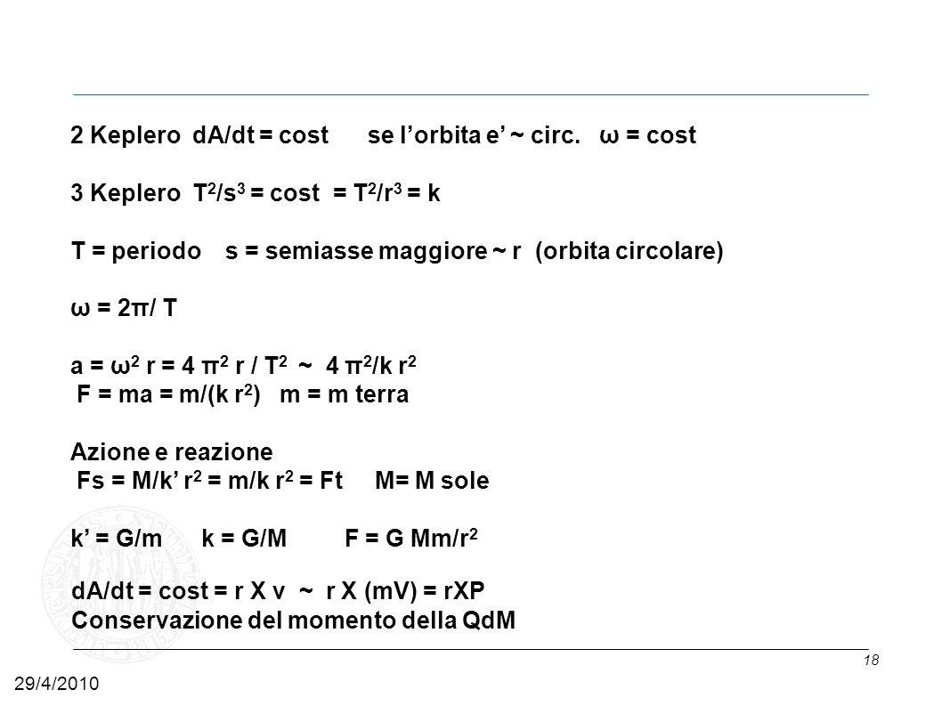 2 Keplero dA/dt = cost se l'orbita e' ~ circ. ω = cost