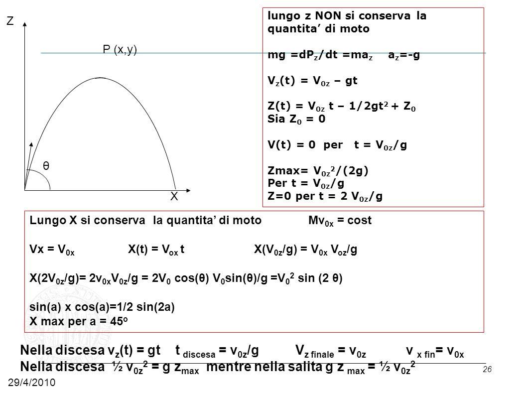 Nella discesa ½ v0z2 = g zmax mentre nella salita g z max = ½ v0z2