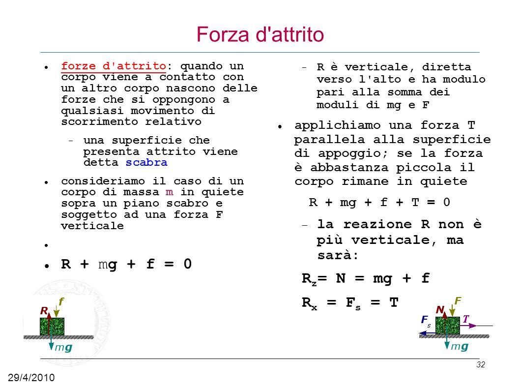 Forza d attrito R + mg + f = 0 Rz= N = mg + f Rx = Fs = T