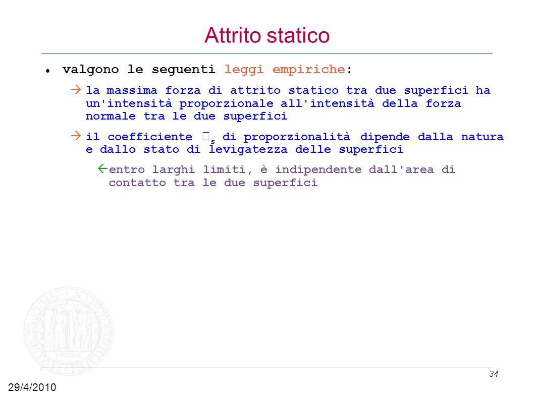 Attrito statico valgono le seguenti leggi empiriche:
