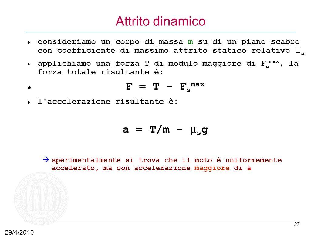 Attrito dinamico F = T - Fsmax a = T/m - msg