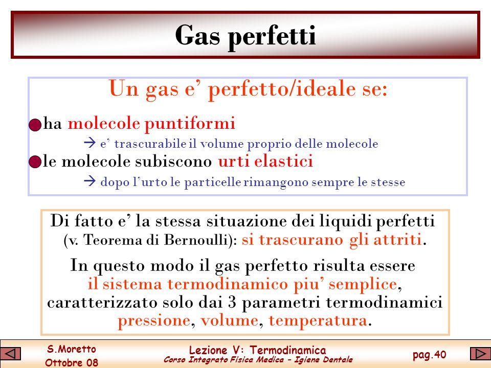 Gas perfetti Un gas e' perfetto/ideale se: