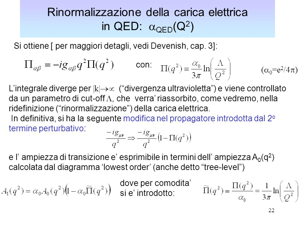 Rinormalizzazione della carica elettrica in QED: aQED(Q2)