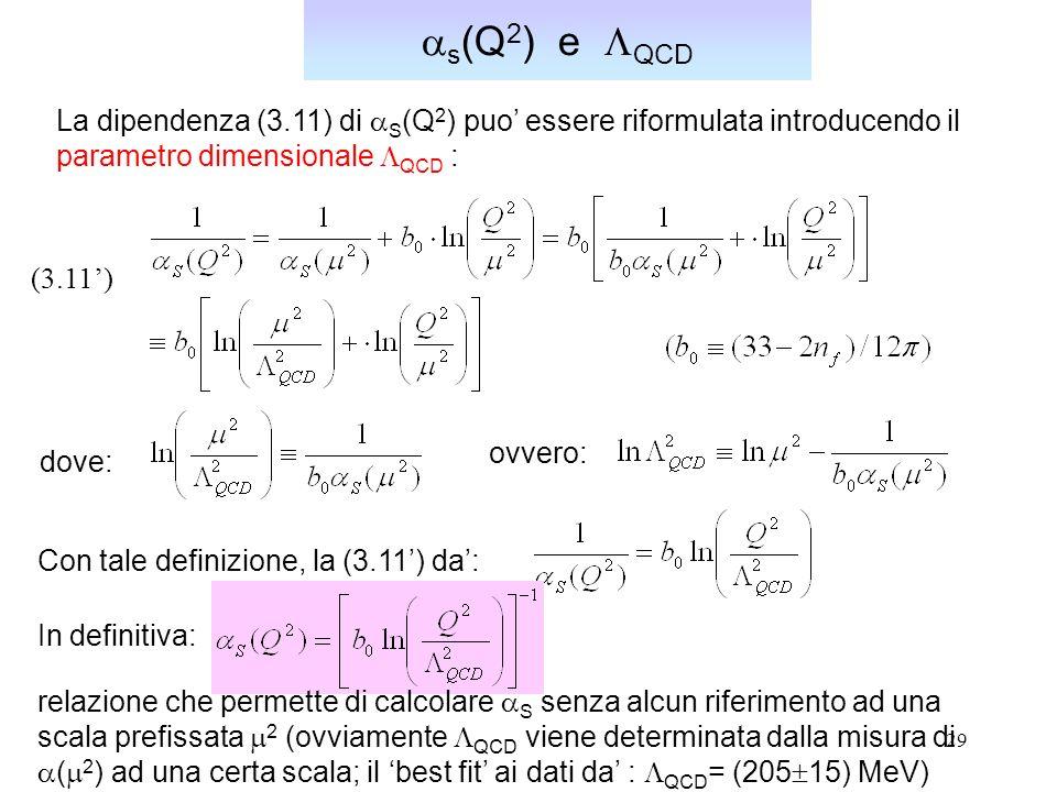 as(Q2) e LQCD La dipendenza (3.11) di aS(Q2) puo' essere riformulata introducendo il. parametro dimensionale LQCD :