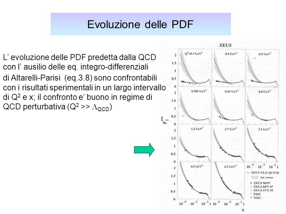 Evoluzione delle PDF L' evoluzione delle PDF predetta dalla QCD