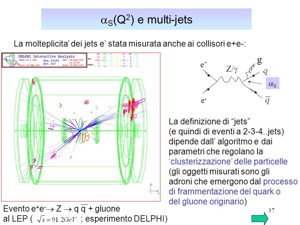 aS(Q2) e multi-jets La molteplicita' dei jets e' stata misurata anche ai collisori e+e-: g. e+ Z/g.