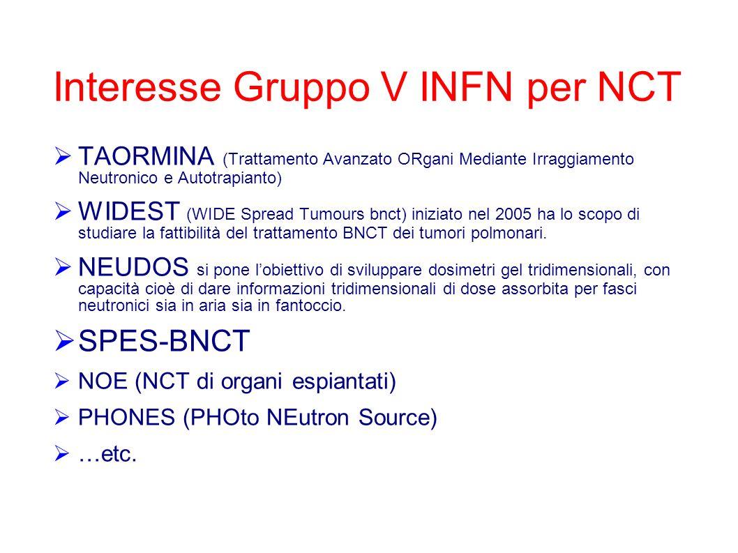Interesse Gruppo V INFN per NCT