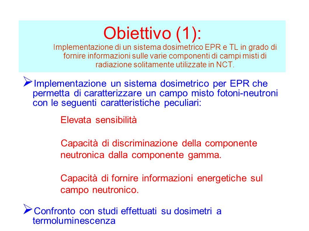 Obiettivo (1): Implementazione di un sistema dosimetrico EPR e TL in grado di fornire informazioni sulle varie componenti di campi misti di radiazione solitamente utilizzate in NCT.