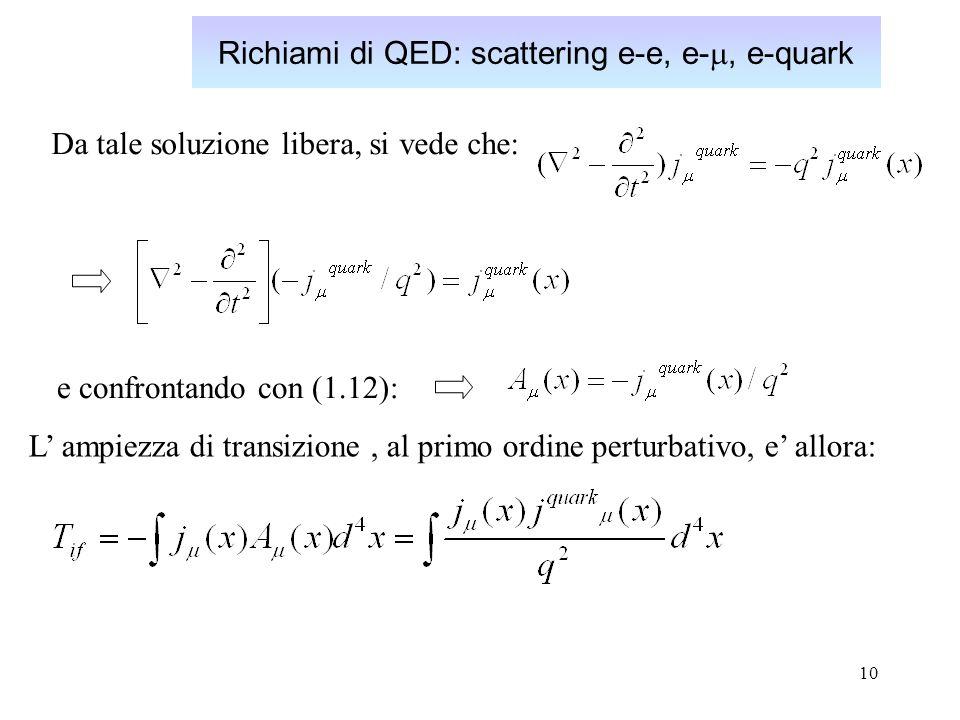 Richiami di QED: scattering e-e, e-m, e-quark