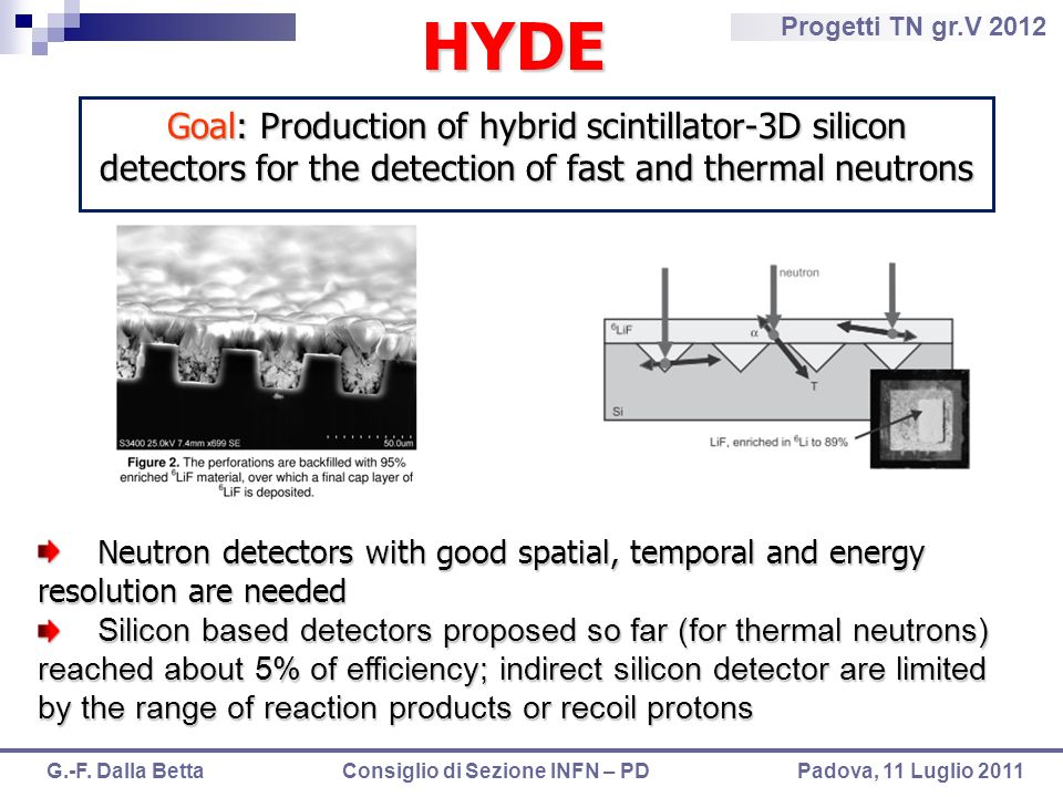 HYDEGoal: Production of hybrid scintillator-3D silicon detectors for the detection of fast and thermal neutrons.