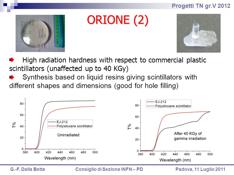 ORIONE (2)High radiation hardness with respect to commercial plastic scintillators (unaffected up to 40 KGy)