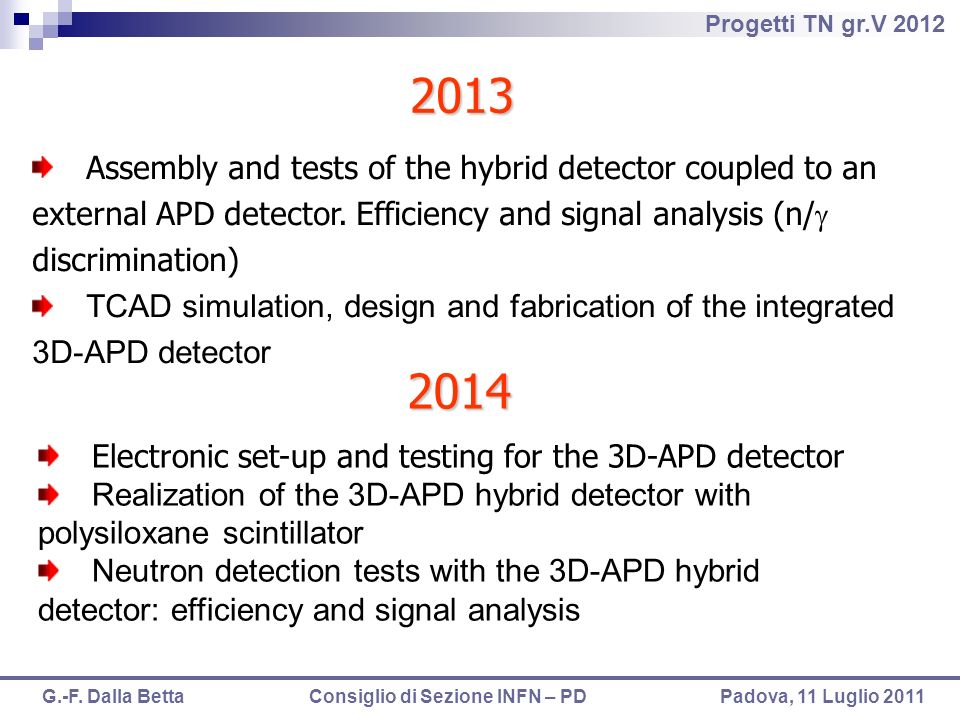 2013Assembly and tests of the hybrid detector coupled to an external APD detector. Efficiency and signal analysis (n/g discrimination)