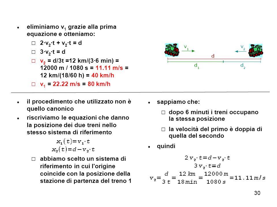eliminiamo v1 grazie alla prima equazione e otteniamo: