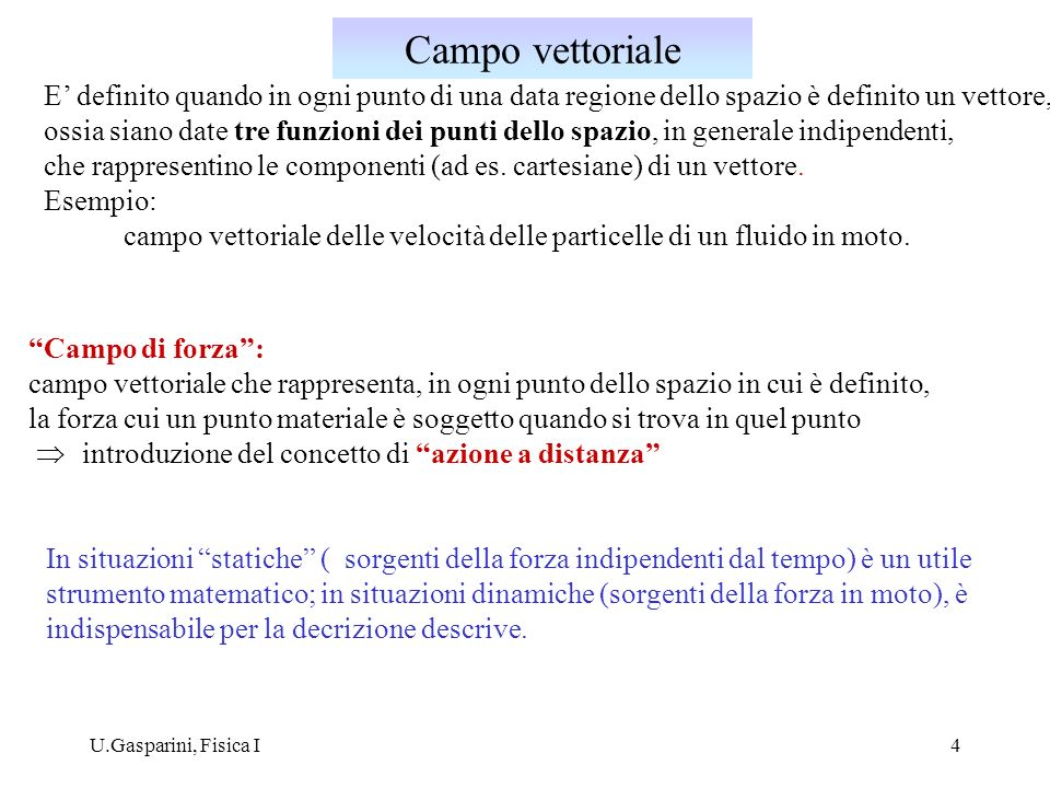 Campo vettorialeE' definito quando in ogni punto di una data regione dello spazio è definito un vettore,