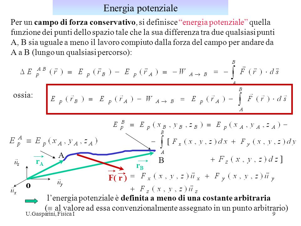 Energia potenziale Per un campo di forza conservativo, si definisce energia potenziale quella.
